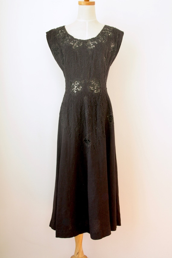 1940s Black Soutache dress. Linen cut out soutache