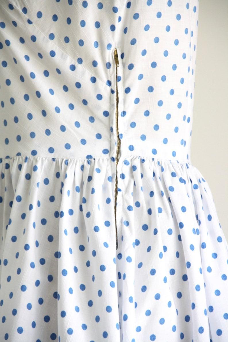 S Shirtwaist dress 1950s polka dot dress M 50s Blue white day dress Rockabilly dress Vintage 50s cotton sundress