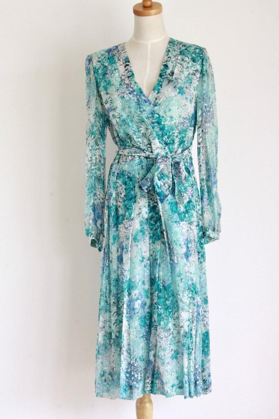 Vintage silk floral day dress. Blue Silk chiffon … - image 7