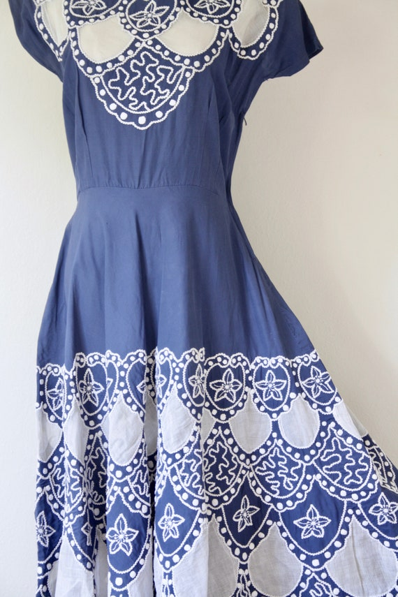 1940s blue embroidered soutache cutout dress. Blu… - image 6
