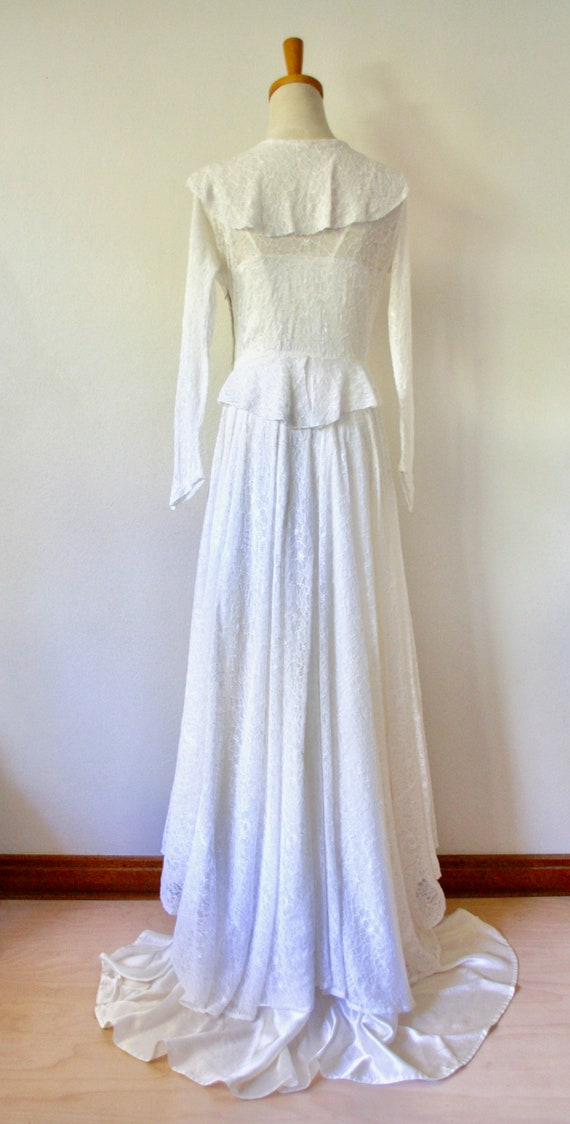30s lace wedding dress. 30s silk and lace gown. 3… - image 3