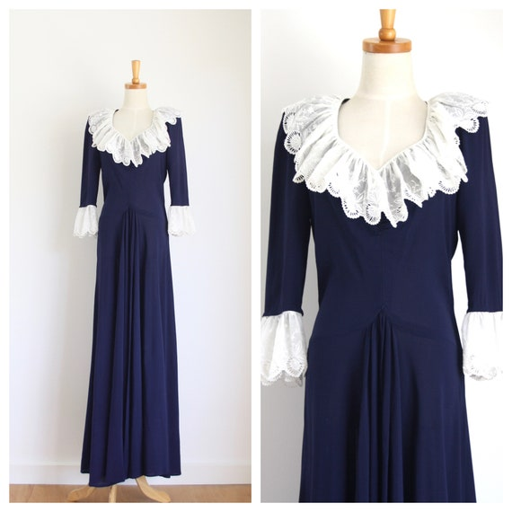 30s Blue crepe ruffle gown. Ink blue 1930s dress.