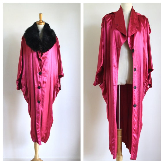 Vintage magenta satin coat. 1980s pink trench coa… - image 1