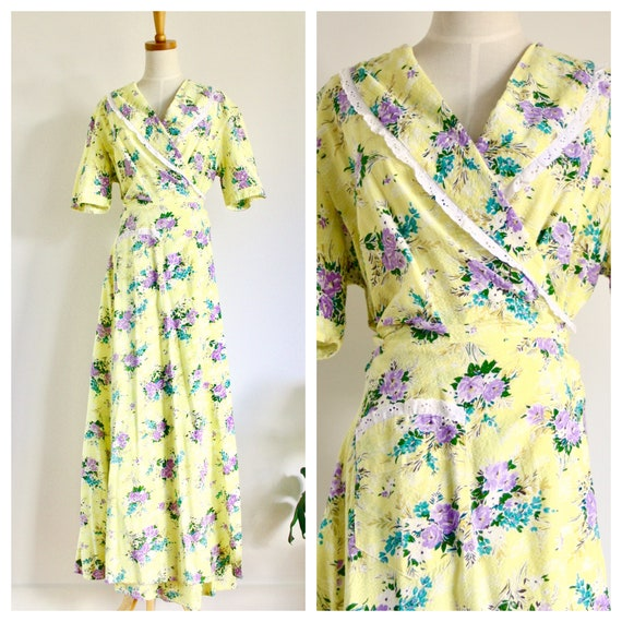 1940s floral cotton dress. Vintage 40s summer dres