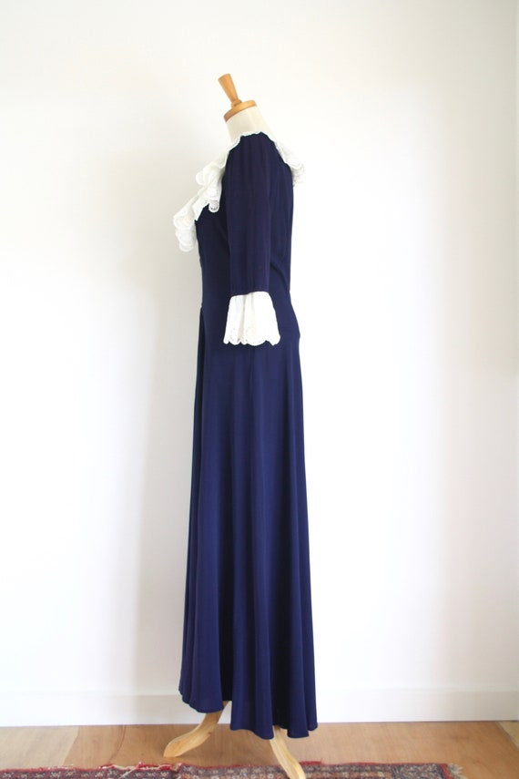 30s Blue crepe ruffle gown. Ink blue 1930s dress.… - image 5
