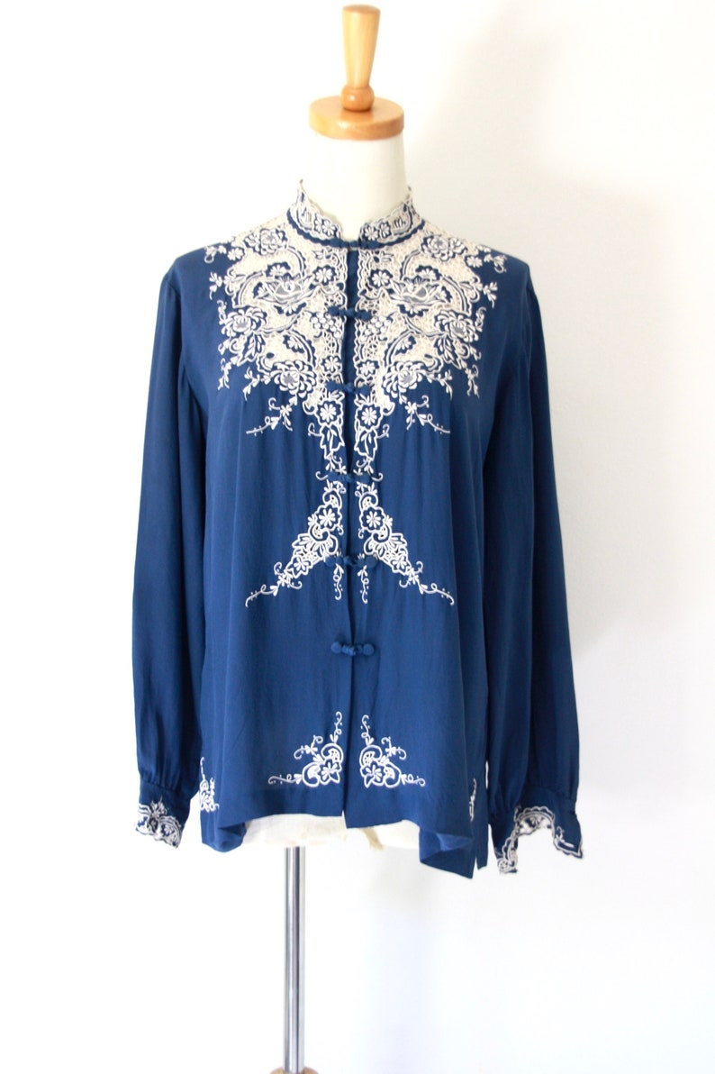 02c73613248019 Blue silk Chinese embroidered blouse. Peony brand Chinese