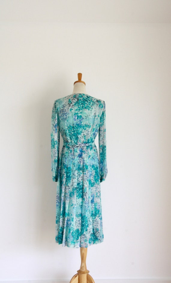 Vintage silk floral day dress. Blue Silk chiffon … - image 4