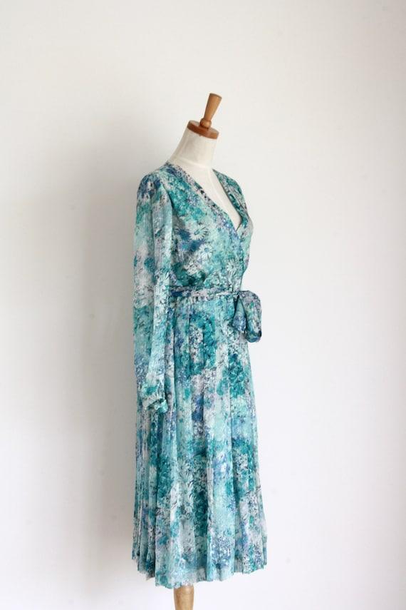 Vintage silk floral day dress. Blue Silk chiffon … - image 3