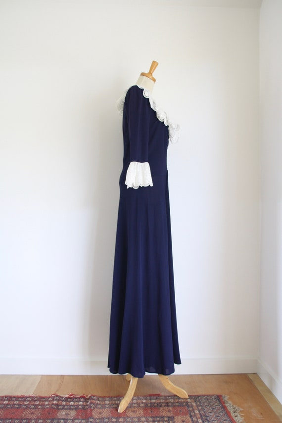30s Blue crepe ruffle gown. Ink blue 1930s dress.… - image 7