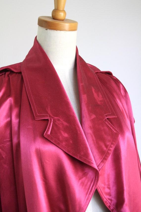 Vintage magenta satin coat. 1980s pink trench coa… - image 8