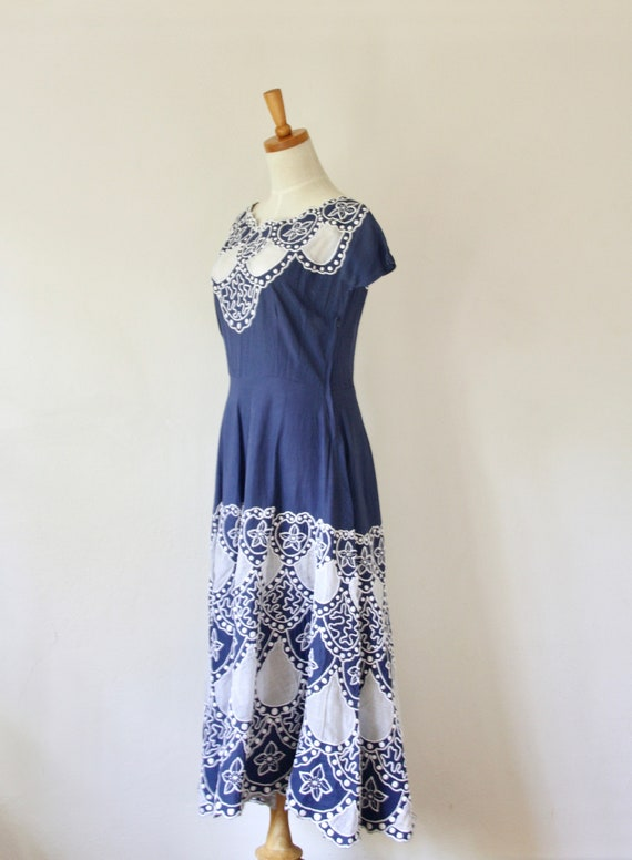 1940s blue embroidered soutache cutout dress. Blu… - image 3