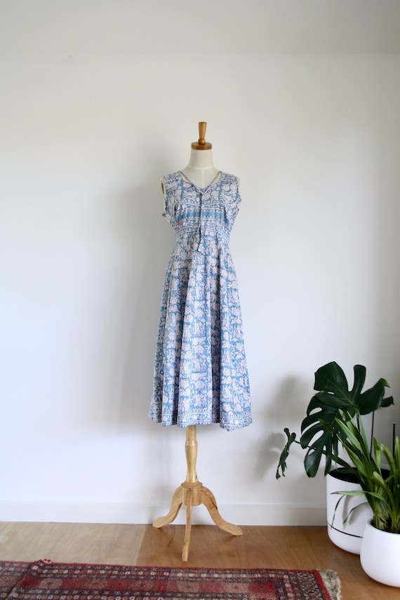 Vintage Indian block print dress. Blue Indian dres