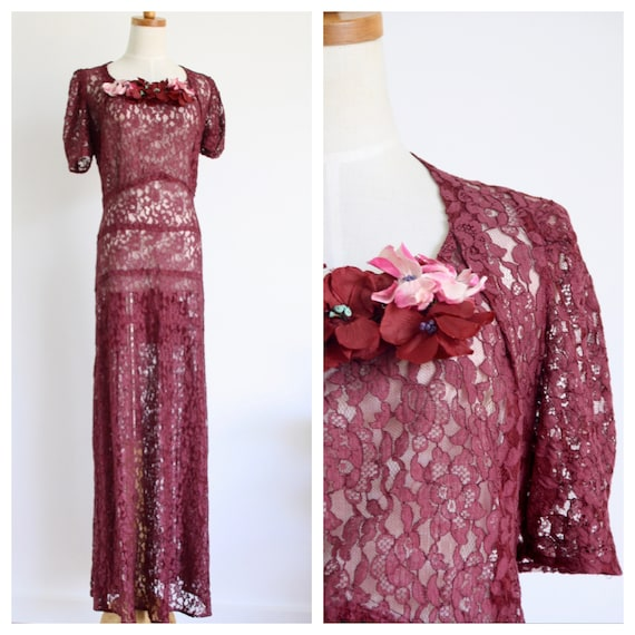 1930s burgundy lace gown. 30s red lace dress. Vint