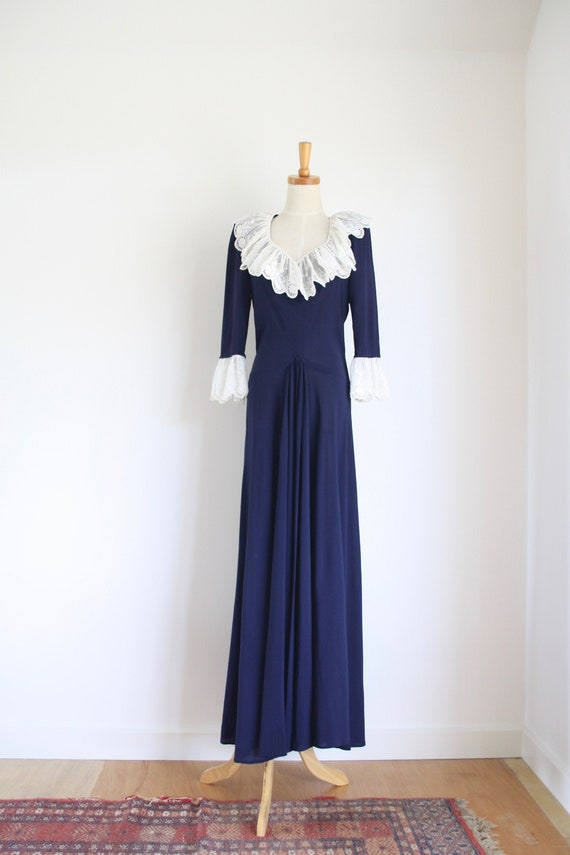 30s Blue crepe ruffle gown. Ink blue 1930s dress.… - image 2