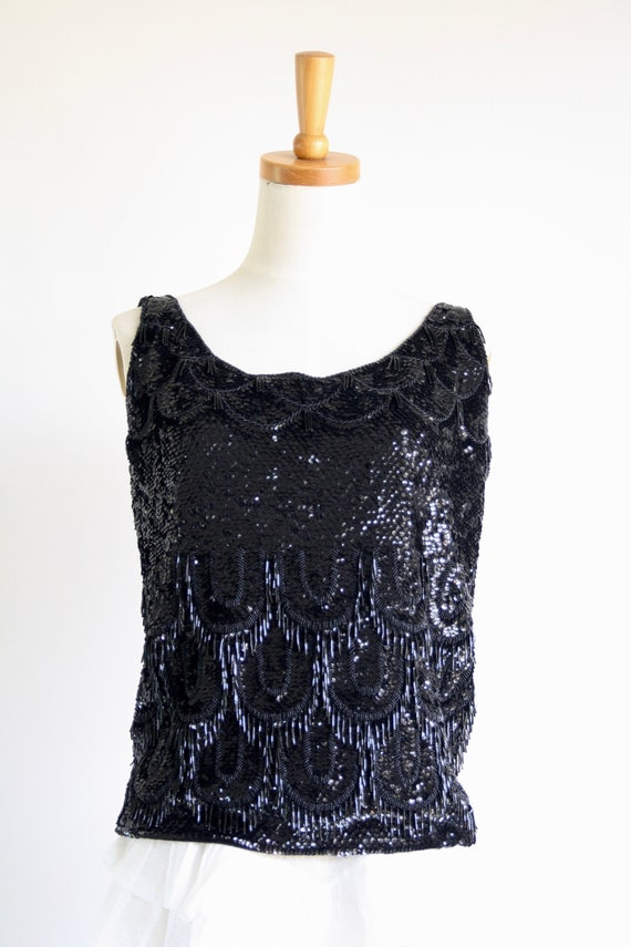 1950s black sequin top. Wool sequin top. Winter s… - image 6