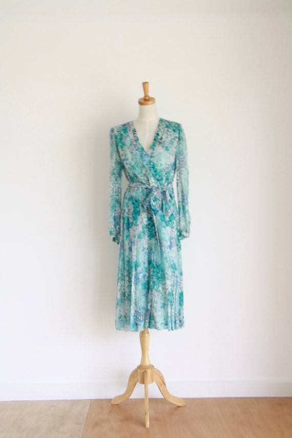 Vintage silk floral day dress. Blue Silk chiffon … - image 6