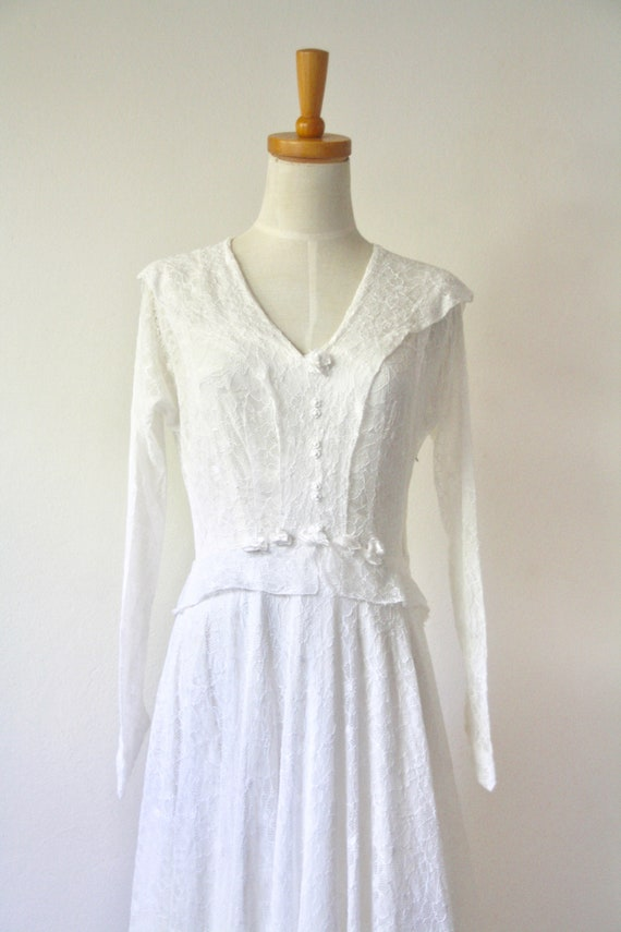 30s lace wedding dress. 30s silk and lace gown. 3… - image 7