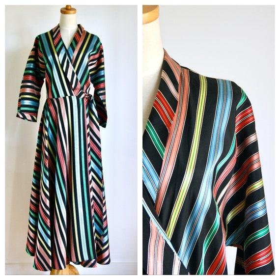 1950s rainbow stripe wrap dress. Maxim style dress