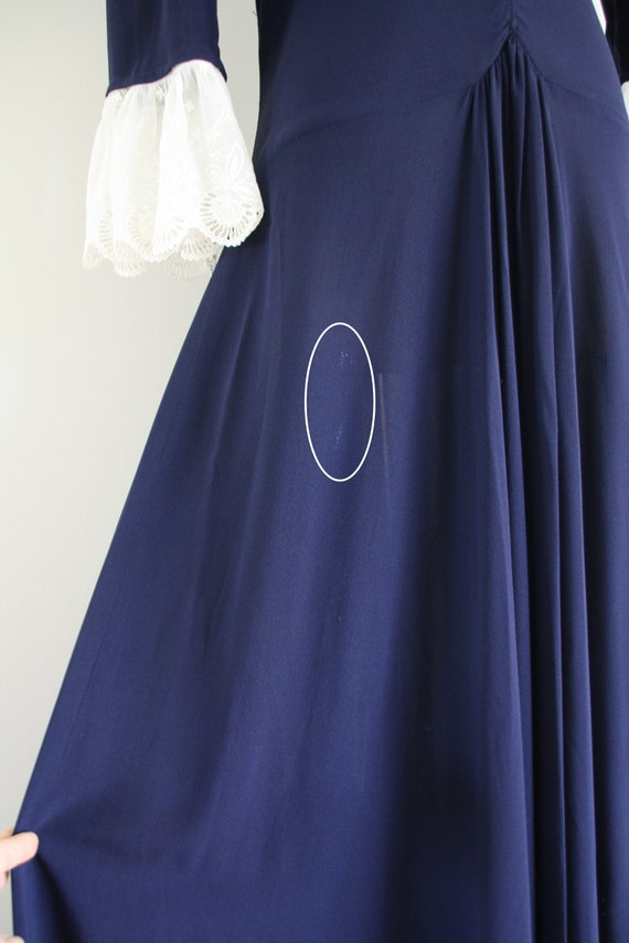 30s Blue crepe ruffle gown. Ink blue 1930s dress.… - image 10