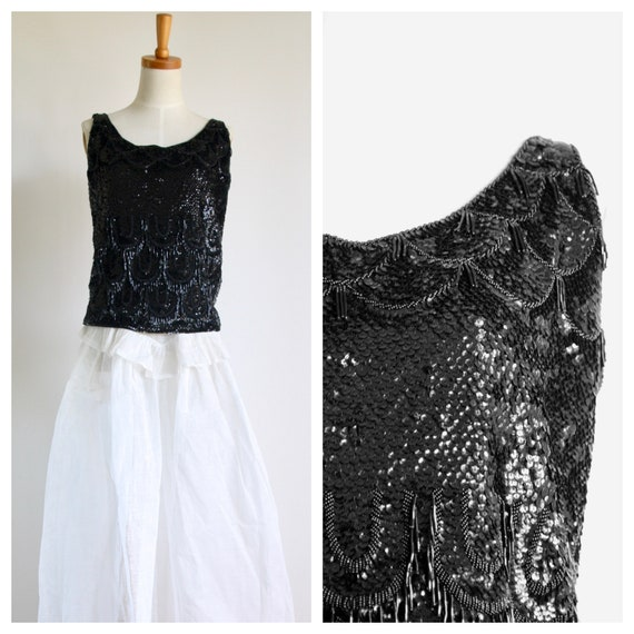 1950s black sequin top. Wool sequin top. Winter se