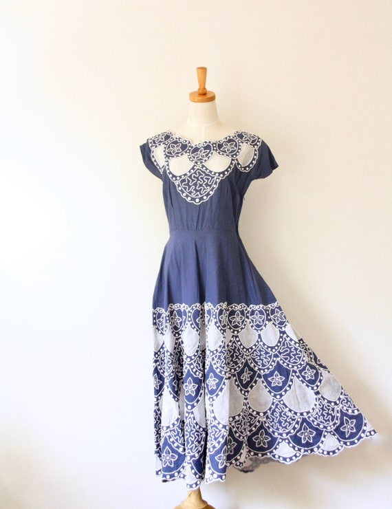 1940s blue embroidered soutache cutout dress. Blue