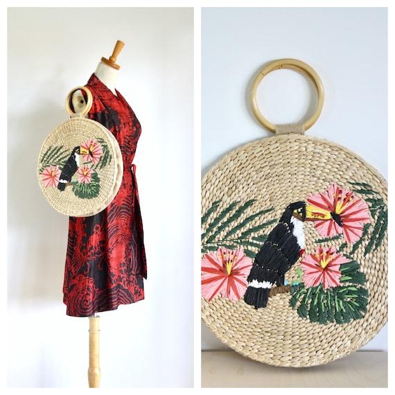 Vintage round raffia purse. Vintage summer bag. To