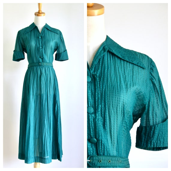 40s 50s sheer green sundress. Sheer striped dress.