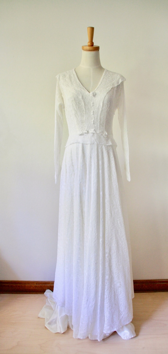 30s lace wedding dress. 30s silk and lace gown. 3… - image 2