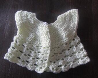 Custard Yellow Baby Cardigan Soft and Fine Crochet 6-12 mos