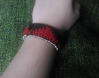 Red Black Beaded Safety Pin Bracelet