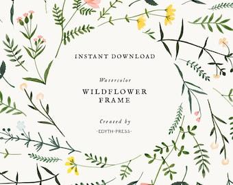 Wildflower Watercolor Floral Border Clipart Frame  Botanical Background png flower clip art illustrations plant meadow elegant