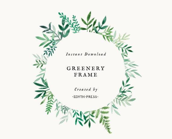 green leaf border circle frame clipart greenery botanical