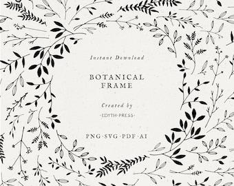 Hand Drawn Leaf Border Clipart Frame Black Botanical Background png svg eps ai leaves clip art illustrations plant branch floral elegant