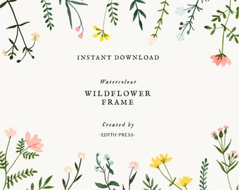 Wildflower Watercolor Floral Border Frame Clipart Flowers Background Botanical Meadow Illustrations Hand Painted png clip art printable