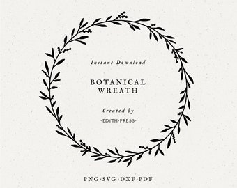 Simple Botanical Leaf Wreath svg cut file clip art png dxf jpg pdf Plant Leaves Illustration clipart circle plant cutfile cricut silhouette