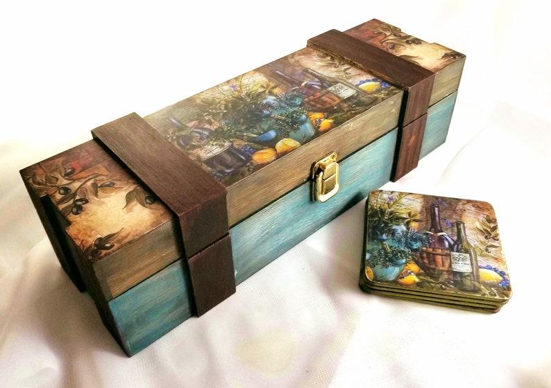 Wine Box Wine Gift Box Decorative Wine Box Decoupage Wine Box