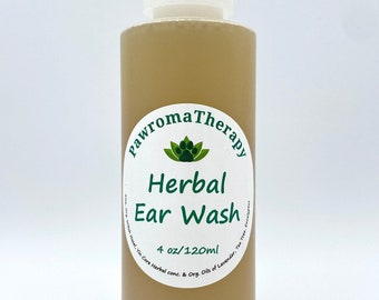 Natural Herbal Ear Cleaner for Dogs and Cats 4oz, Pet Ear Wash
