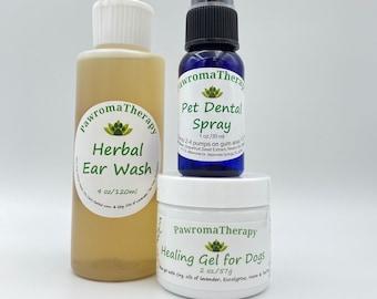 All Natural Dog Healing Essentials Set--Healing Gel 2oz, Herbal Ear Wash 4oz, Pet Dental Spray 1oz