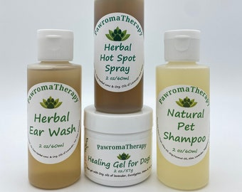 Natural Healing Products for Dogs, Healing Gel for Dogs, Herbal Hot Spot Spray, Herbal Ear Wash and Natural Pet Shampoo