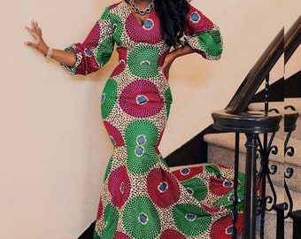 f7fdb8612751 African Women's Clothing/ Dashiki women's dress / Ankara Mermaid Gown /  African fabric attire / Prom Gown/ Party Dress/ Evening wear