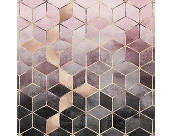 "Pink Grey Gradient Cubes - Acrylic Wall Art Print, 12""x12"""