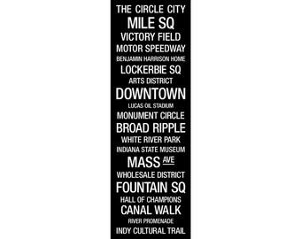 "Transit Sign: Indianapolis, Indiana - Metal Wall Art Print, 12""x36"""