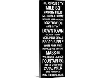 Transit Sign: Indianapolis, Indiana Canvas Wall Art Print