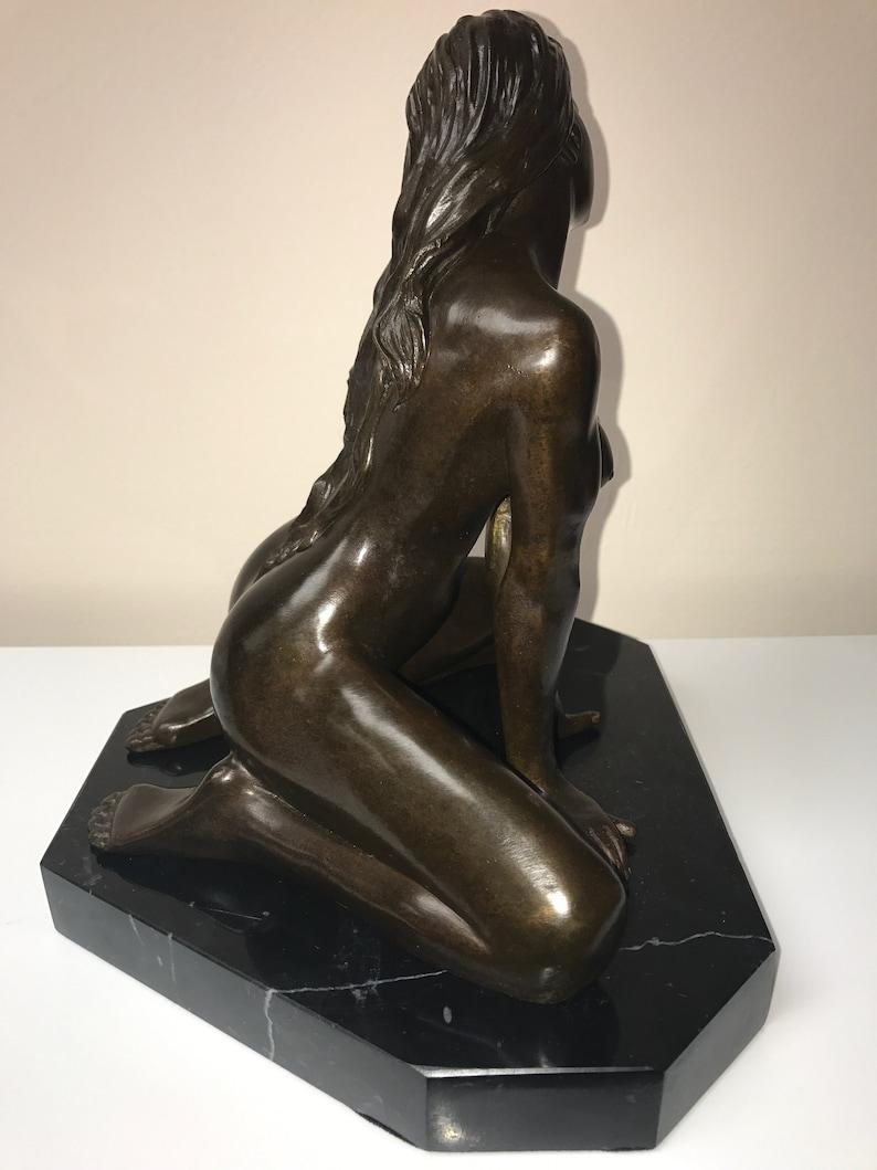 Bronze Antike Originale Vor 1945 Bronze Skulptur Sammlerstück Statue Erotik Nackte Sexy Girl Bronze Skulptur