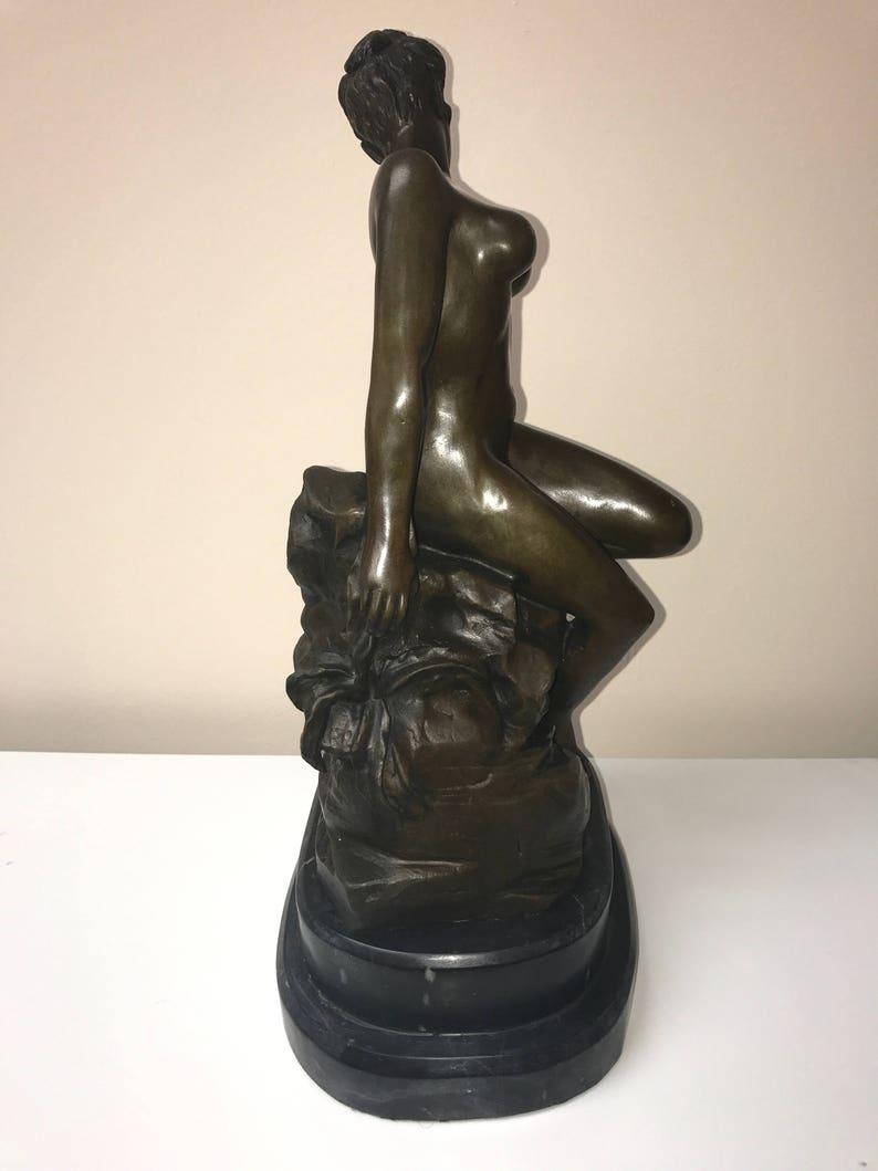 Metallobjekte Bronze Skulptur Sammlerstück Statue Erotik Nackte Sexy Girl Bronze Skulptur