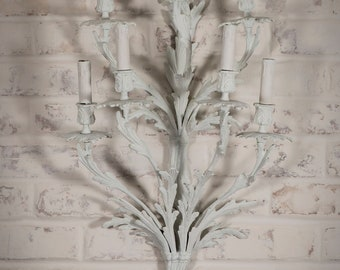 Grand Antique Sconces + Chalk Painted Sconces + Whitewashed Sconces +Antique  Wall Decor + Antique