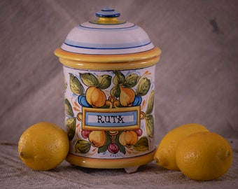 Vintage Italian Ceramic Canister +Vintage Hand Made Canister + Ruta Canister + Tuscan Kitchen + Mediterranean Style Kitchen