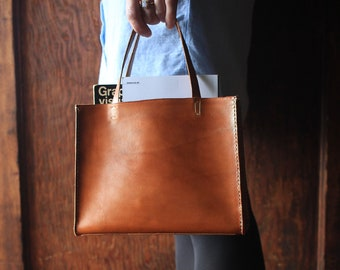 a84e4169c4477 Small Tote - Vegetable Tanned Leather Bag