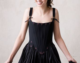 Black Silk Traditionally Corseted Gown