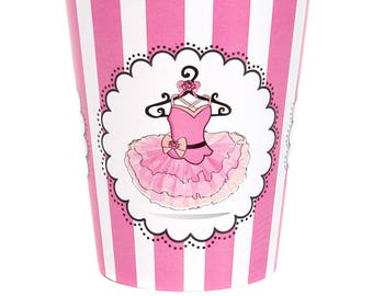 Ballerina Party Paper Cups/ Ballet Cups/ Ballerina Birthday, Baby Shower, 1st Birthday/ Dance/ Tutu/ Dancer/ 8 Count - 9 oz.
